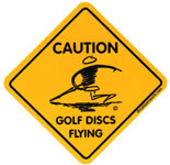 Large Caution Golf Discs Flying (Stickers, Disc Player Logo)
